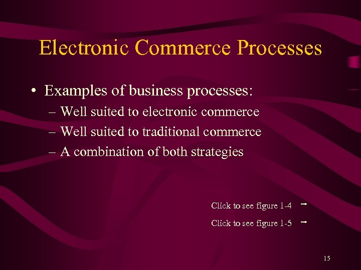 Electronic Commerce Processes • Examples of business processes: – Well suited to electronic commerce