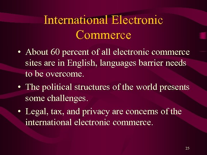 International Electronic Commerce • About 60 percent of all electronic commerce sites are in