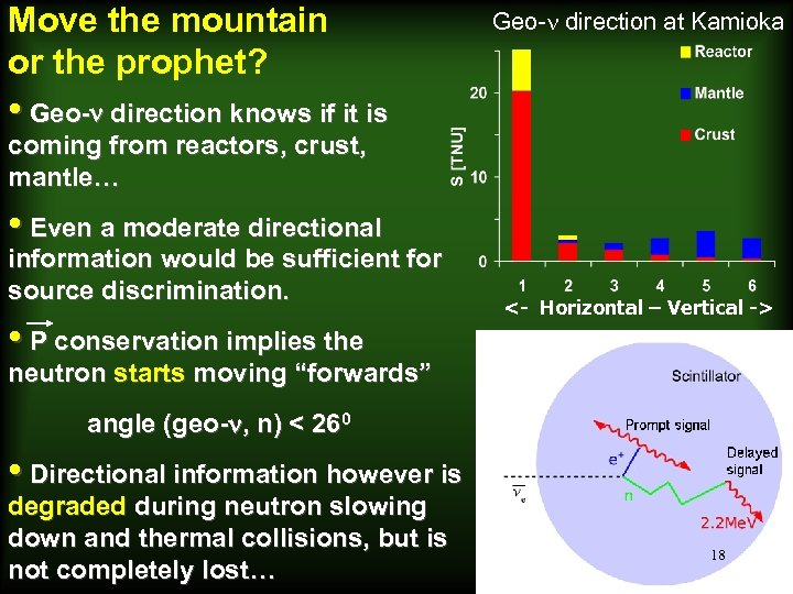 Move the mountain or the prophet? Geo-n direction at Kamioka • Geo-n direction knows