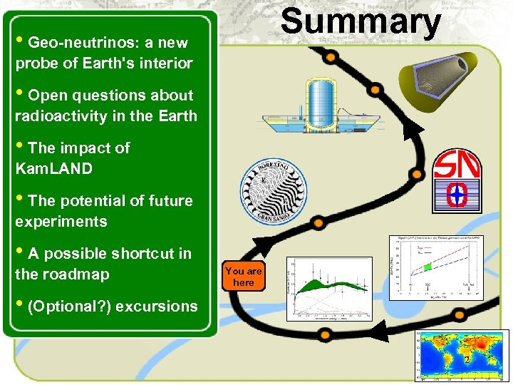 Summary • Geo-neutrinos: a new probe of Earth's interior • Open questions about radioactivity