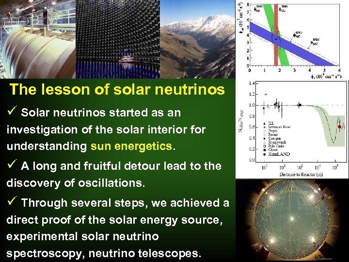 The lesson of solar neutrinos ü Solar neutrinos started as an investigation of the