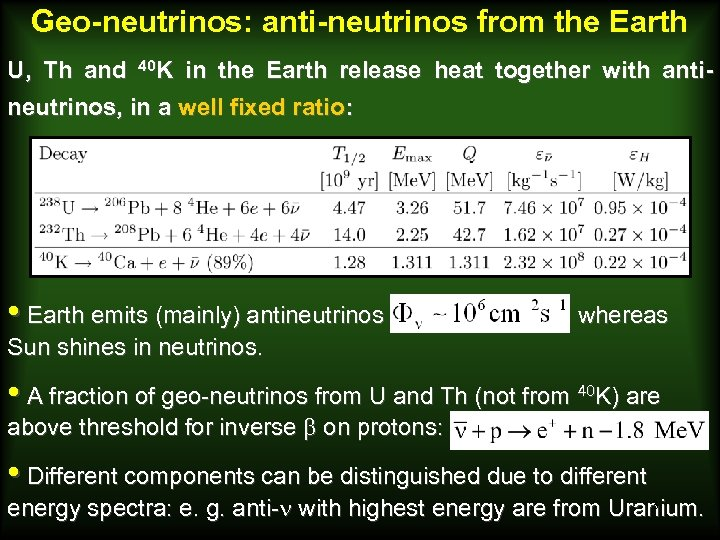 Geo-neutrinos: anti-neutrinos from the Earth U, Th and 40 K in the Earth release