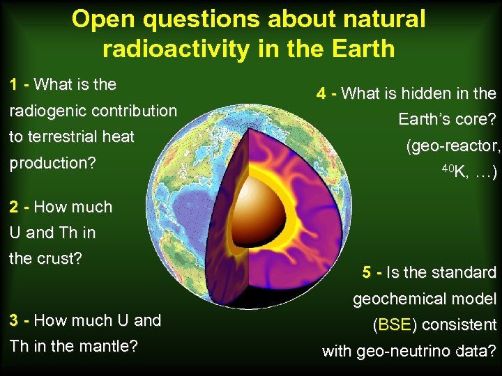 Open questions about natural radioactivity in the Earth 1 - What is the radiogenic