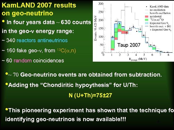 Kam. LAND 2007 results on geo-neutrino Araki et al. , 2005, Nature • In