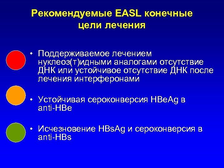 Рекомендуемые EASL конечные цели лечения • Поддерживаемое лечением нуклеоз(т)идными аналогами отсутствие ДНК или устойчивое