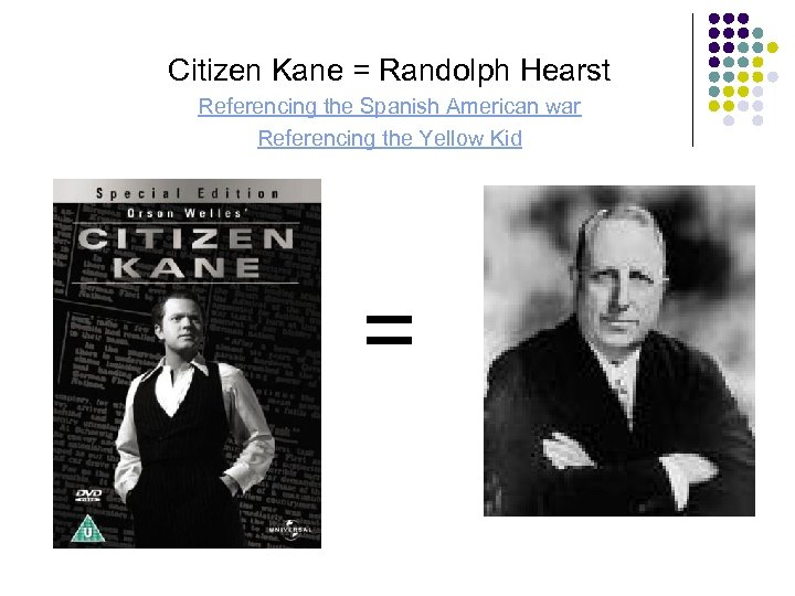 Citizen Kane = Randolph Hearst Referencing the Spanish American war Referencing the Yellow Kid