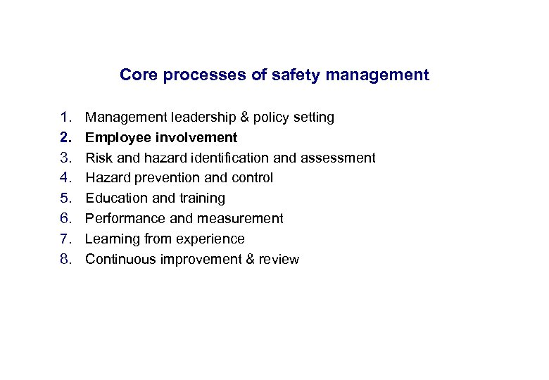 17. 3. 2018 Core processes of safety management 1. 2. 3. 4. 5. 6.