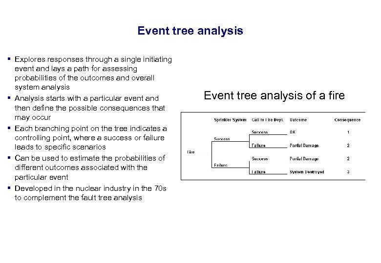 17. 3. 2018 21 Event tree analysis § Explores responses through a single initiating