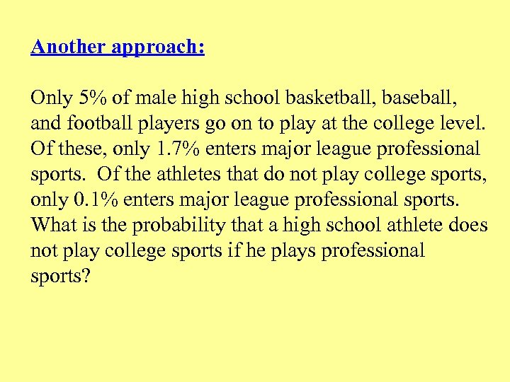 Another approach: Only 5% of male high school basketball, baseball, and football players go