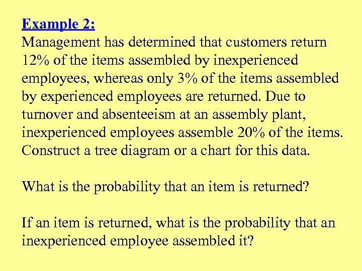 Example 2: Management has determined that customers return 12% of the items assembled by