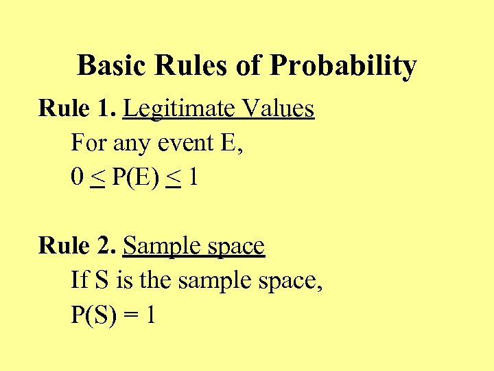 Basic Rules of Probability Rule 1. Legitimate Values For any event E, 0 <