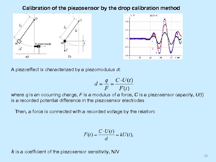 Calibration of the piezosensor by the drop calibration method A piezoeffect is characterized by