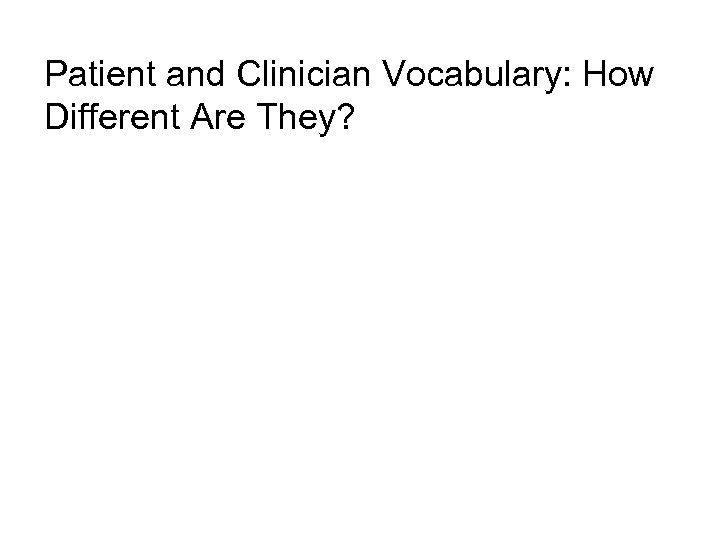 Patient and Clinician Vocabulary: How Different Are They?