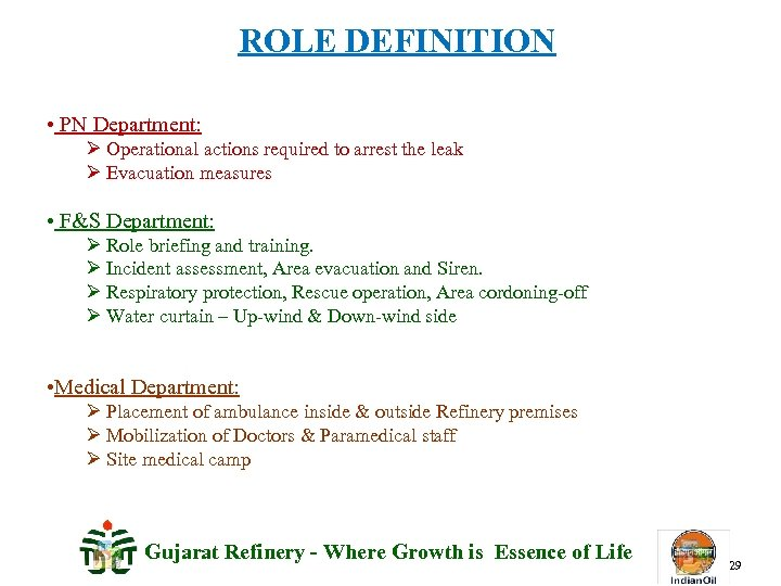 ROLE DEFINITION • PN Department: Ø Operational actions required to arrest the leak Ø
