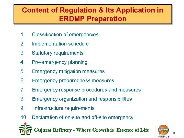 Content of Regulation & Its Application in ERDMP Preparation 1. Classification of emergencies 2.