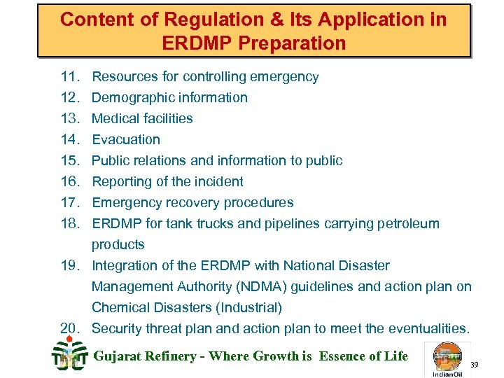 Content of Regulation & Its Application in ERDMP Preparation 11. 12. 13. 14. 15.