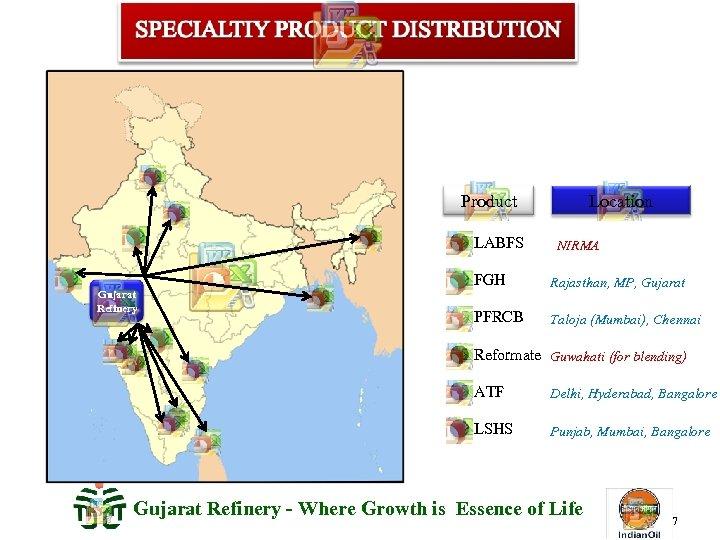 Product LABFS Gujarat Refinery Location NIRMA FGH Rajasthan, MP, Gujarat PFRCB Taloja (Mumbai), Chennai
