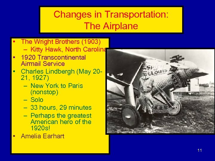 Changes in Transportation: The Airplane • The Wright Brothers (1903) – Kitty Hawk, North