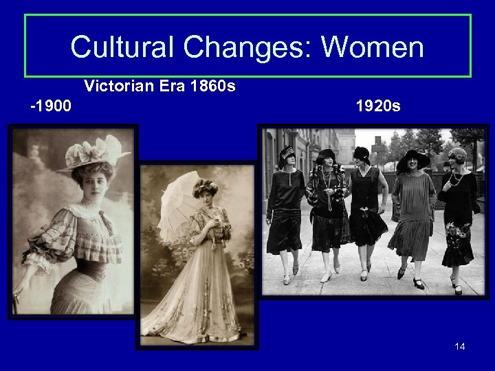 Cultural Changes: Women Victorian Era 1860 s -1900 1920 s 14