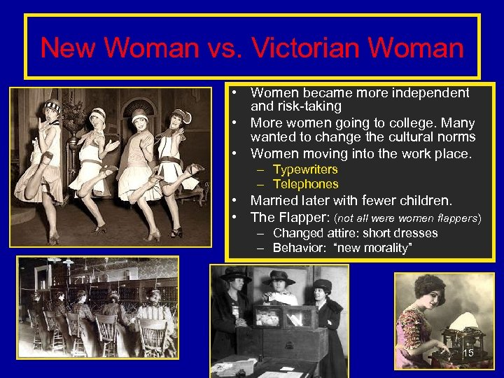 New Woman vs. Victorian Woman • Women became more independent and risk-taking • More