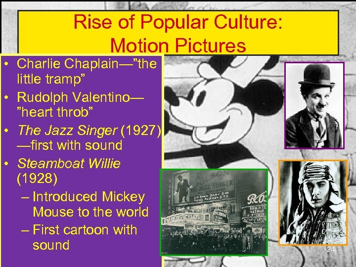 "Rise of Popular Culture: Motion Pictures • Charlie Chaplain—""the little tramp"" • Rudolph Valentino—"