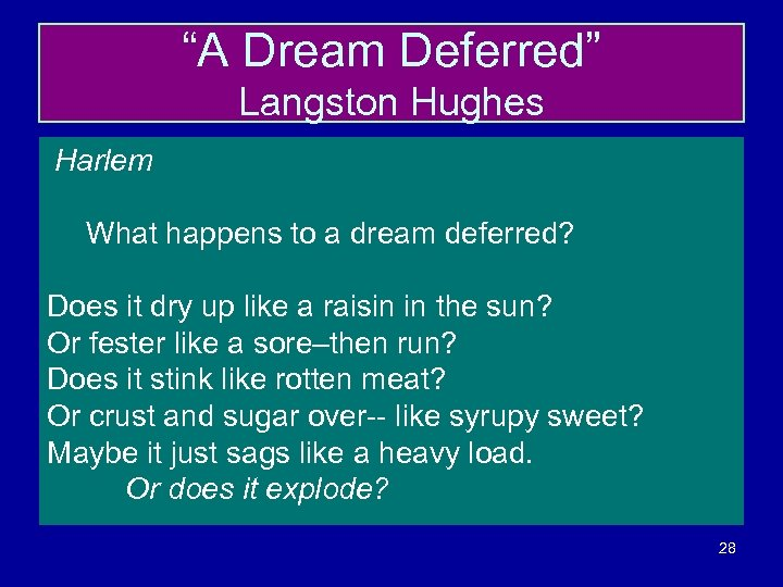 """A Dream Deferred"" Langston Hughes Harlem What happens to a dream deferred? Does it"