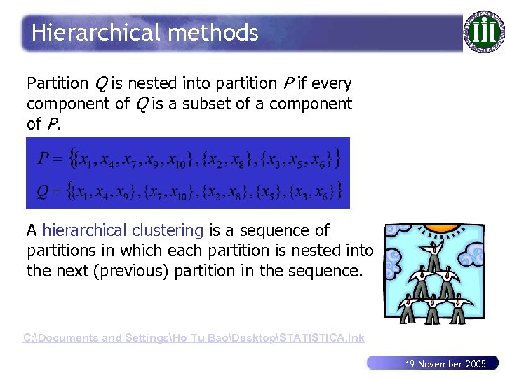 Hierarchical methods Partition Q is nested into partition P if every component of Q