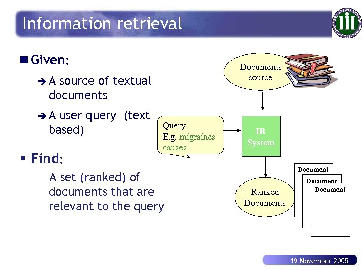 Information retrieval n Given: Documents source èA source of textual documents èA user query