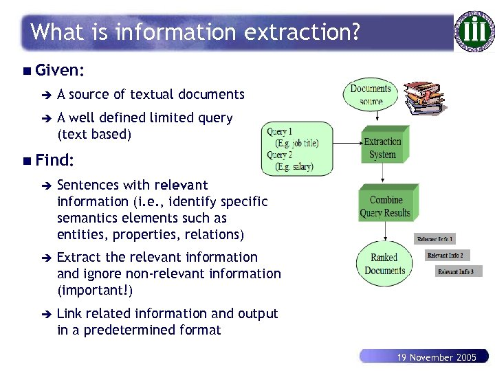 What is information extraction? n Given: è A source of textual documents è A