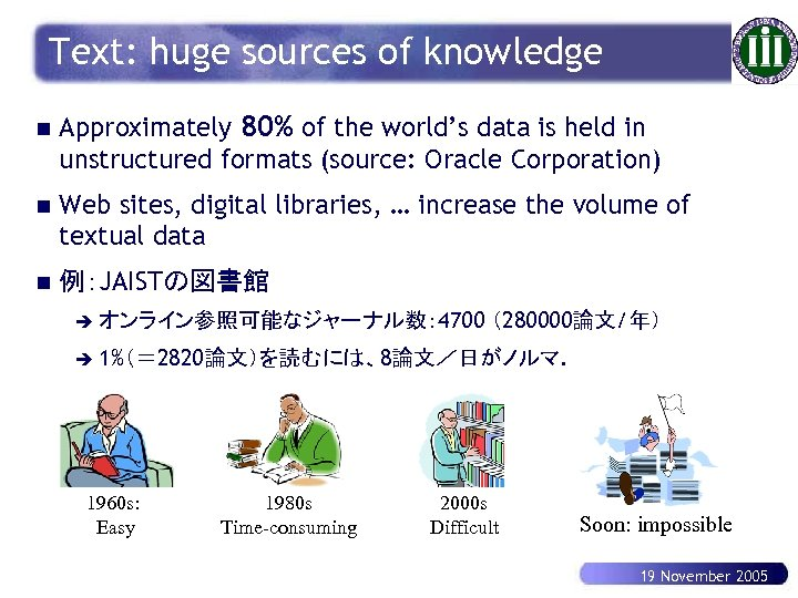 Text: huge sources of knowledge n Approximately 80% of the world's data is held