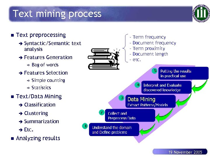 Text mining process n Text preprocessing è Syntactic/Semantic analysis è Features ð Generation Bag