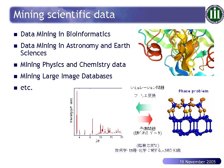Mining scientific data n Data Mining in Bioinformatics n Data Mining in Astronomy and
