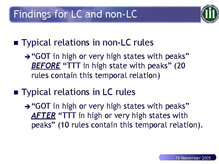 "Findings for LC and non-LC n Typical relations in non-LC rules è ""GOT in"