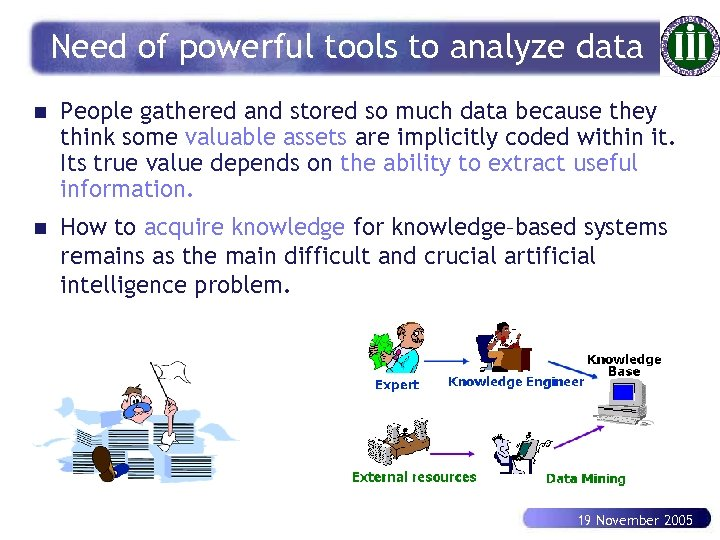 Need of powerful tools to analyze data n People gathered and stored so much