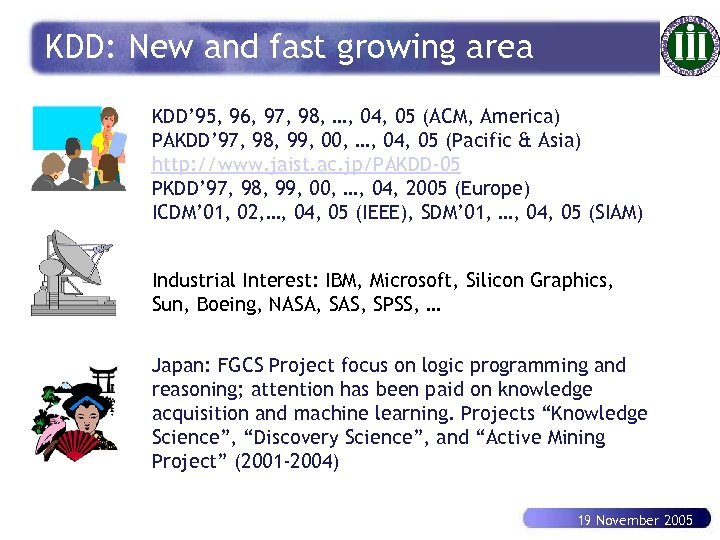 KDD: New and fast growing area KDD' 95, 96, 97, 98, …, 04, 05