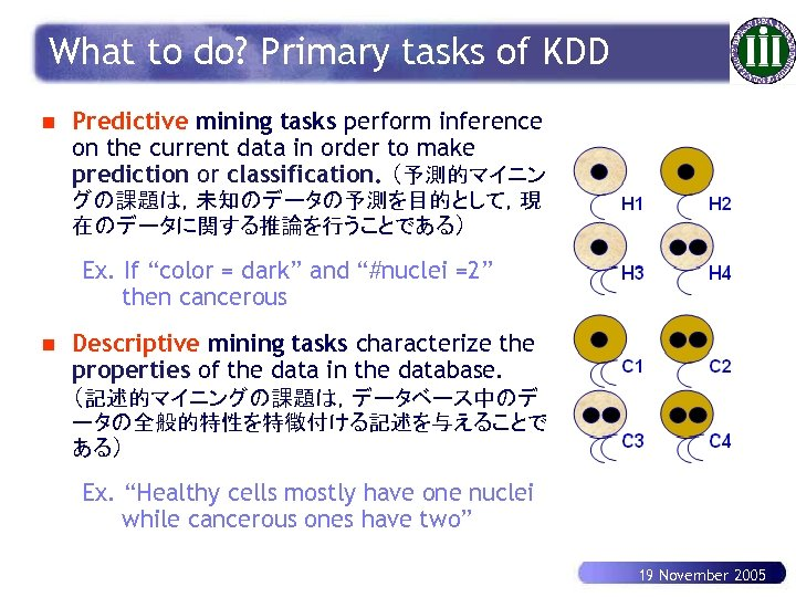 What to do? Primary tasks of KDD n Predictive mining tasks perform inference on