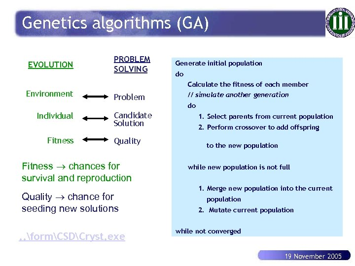 Genetics algorithms (GA) EVOLUTION PROBLEM SOLVING Generate initial population do Calculate the fitness of