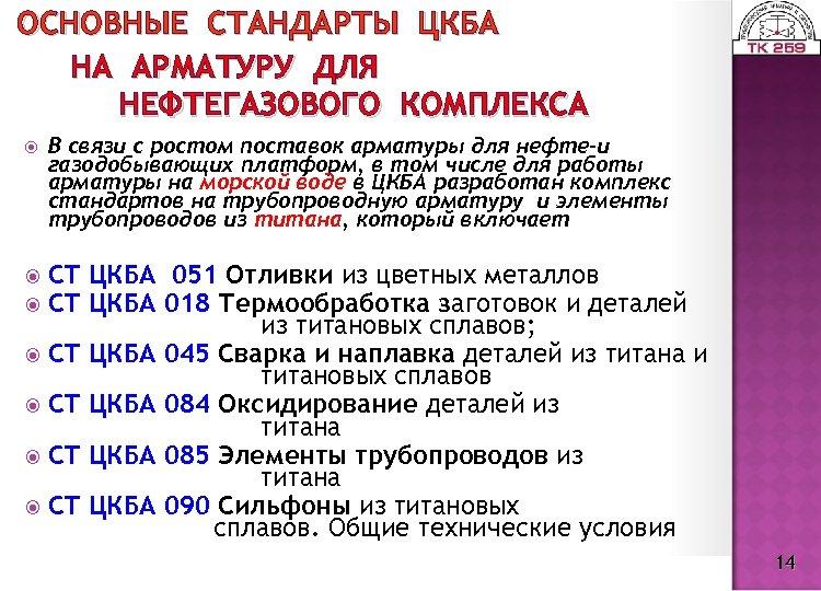 ОСНОВНЫЕ СТАНДАРТЫ ЦКБА НА АРМАТУРУ ДЛЯ НЕФТЕГАЗОВОГО КОМПЛЕКСА В связи с ростом поставок арматуры