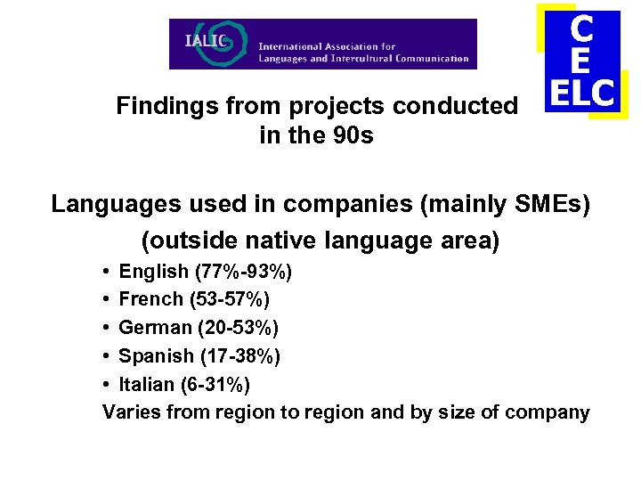 Findings from projects conducted in the 90 s Languages used in companies (mainly SMEs)
