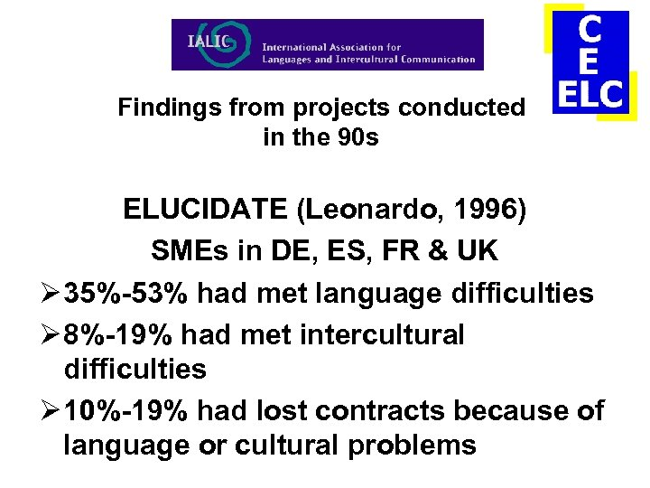 Findings from projects conducted in the 90 s ELUCIDATE (Leonardo, 1996) SMEs in DE,