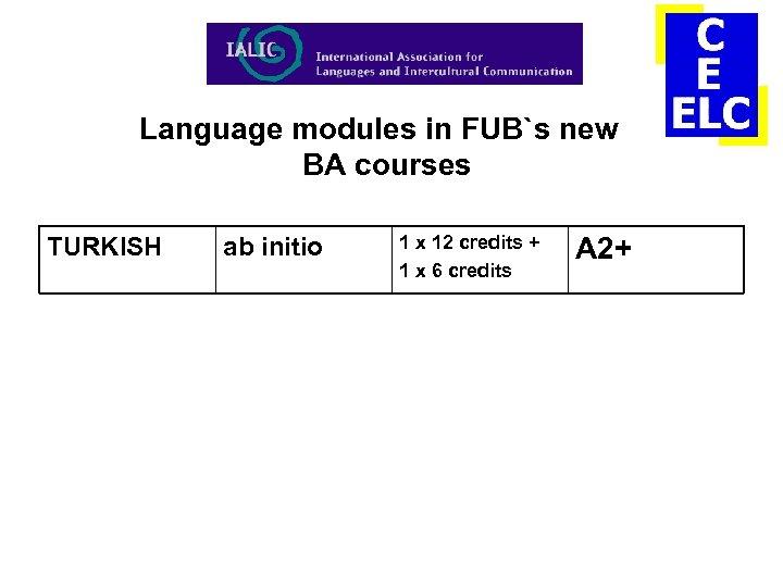 Language modules in FUB`s new BA courses TURKISH ab initio 1 x 12 credits