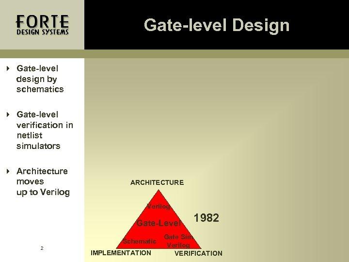 Gate-level Design 4 Gate-level design by schematics 4 Gate-level verification in netlist simulators 4