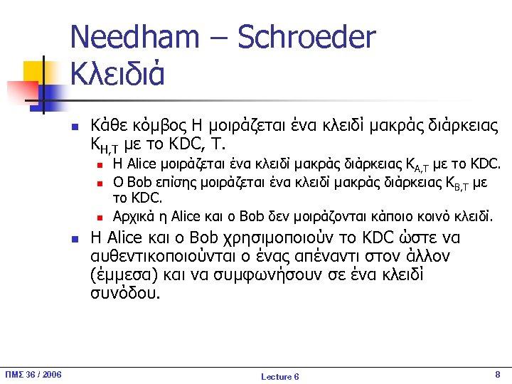 Needham – Schroeder Κλειδιά n Κάθε κόμβος H μοιράζεται ένα κλειδί μακράς διάρκειας KH,