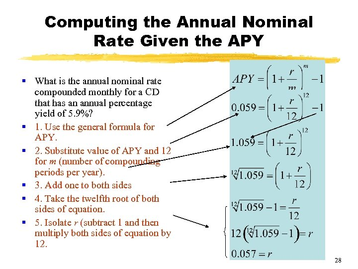 Computing the Annual Nominal Rate Given the APY § What is the annual nominal