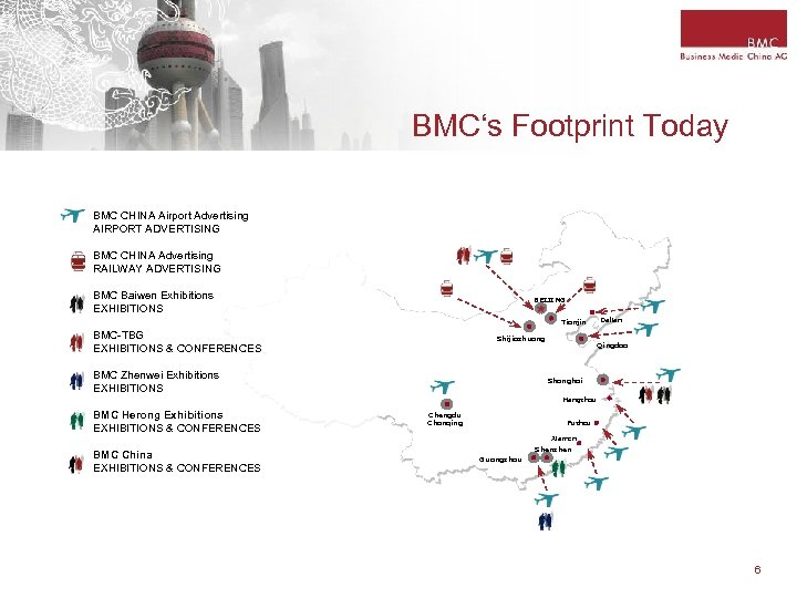 BMC's Footprint Today BMC CHINA Airport Advertising AIRPORT ADVERTISING BMC CHINA Advertising RAILWAY ADVERTISING