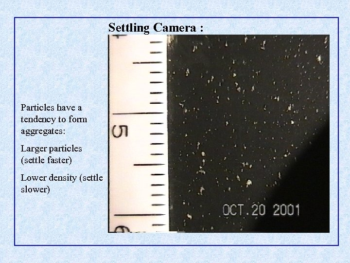 Settling Camera : Particles have a tendency to form aggregates: Larger particles (settle faster)