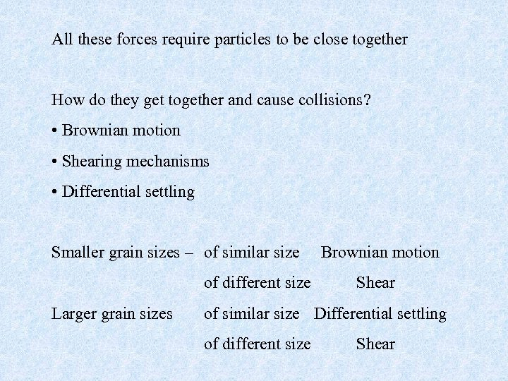 All these forces require particles to be close together How do they get together