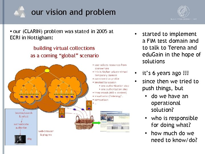 our vision and problem • our (CLARIN) problem was stated in 2005 at ECRI