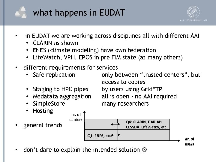 what happens in EUDAT • in EUDAT we are working across disciplines all with