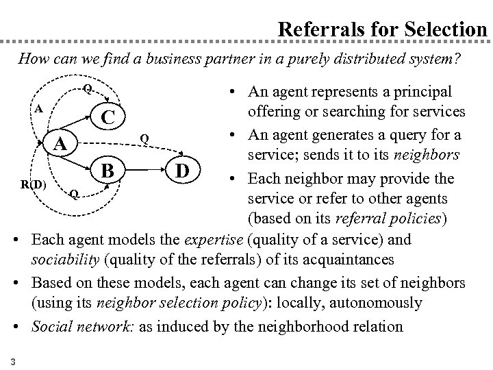 Referrals for Selection How can we find a business partner in a purely distributed